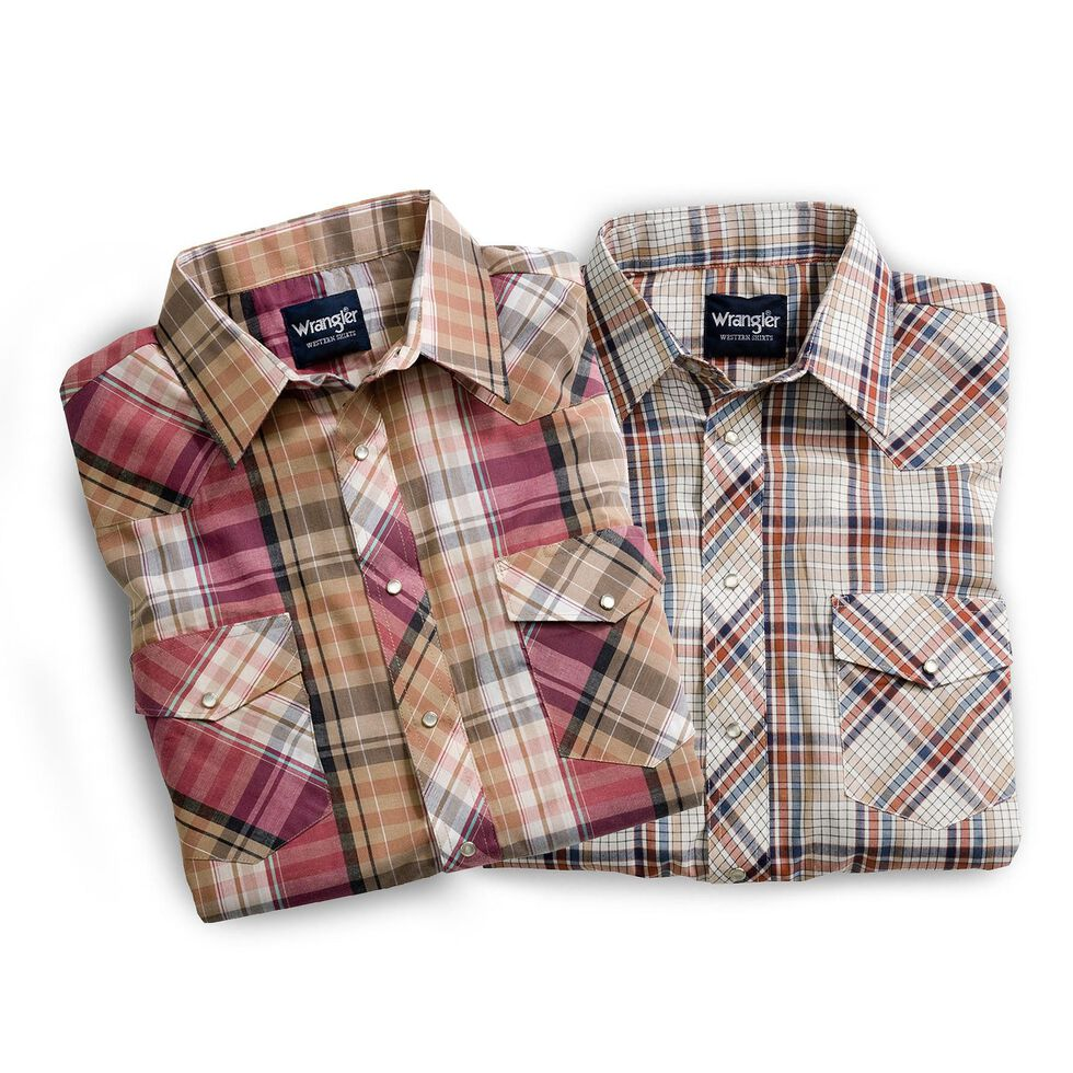 Wrangler Men's Assorted Classic Short Sleeve Western Shirts - Big & Tall, Plaid, hi-res