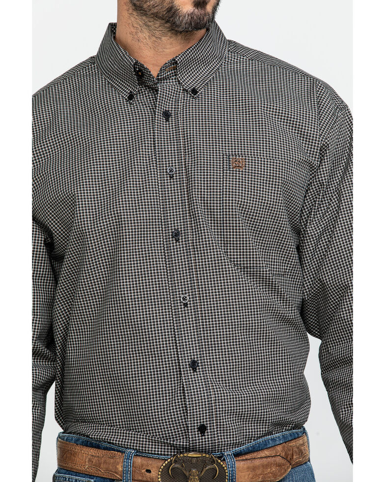 Cinch Men's Black Small Check Plaid Long Sleeve Western Shirt - Big , Black, hi-res