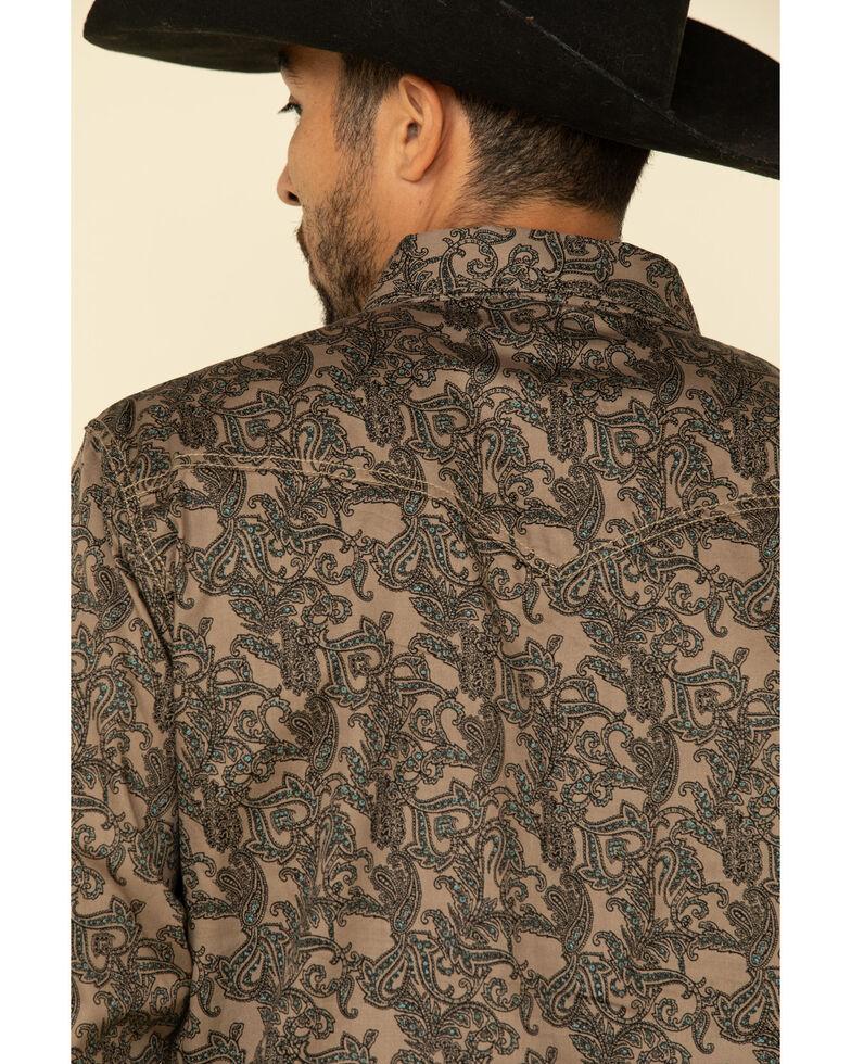 Wrangler Retro Men's Tan Paisley Print Long Sleeve Western Shirt , Tan, hi-res