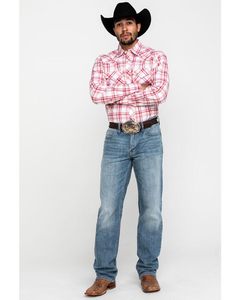 Wrangler 20X Men's Advanced Comfort Red Med Plaid Long Sleeve Western Shirt , Red, hi-res
