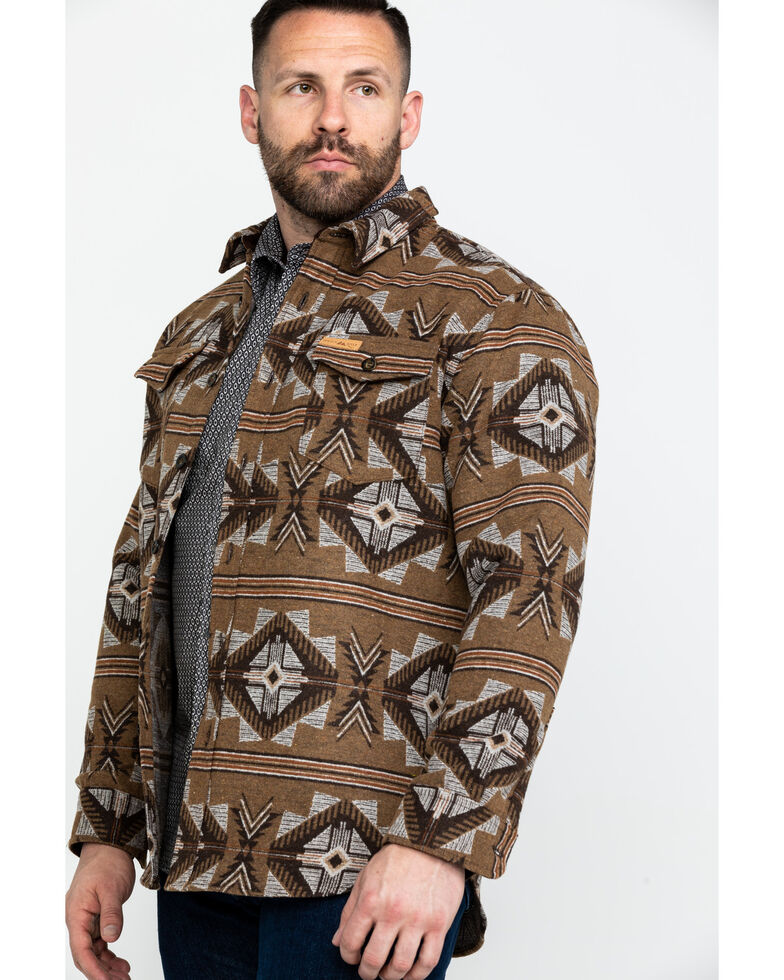 Powder River Outfitters Men's Aztec Jacquard Shirt Jacket , Brown, hi-res