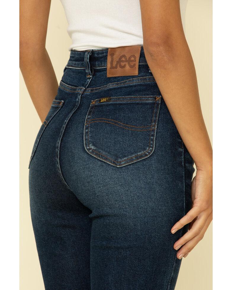 Lee Women's Vegas Blue High Rise Button Front Flare Jeans, Blue, hi-res
