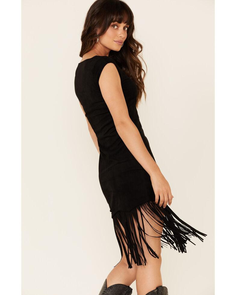 Shyanne Women's Faux Suede Fringe Hem Dress, Black, hi-res