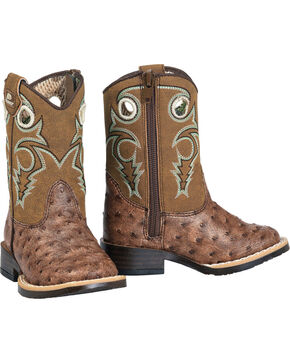 Double Barrel Toddler Boys' Brant Ostrich Print Boots - Square Toe, Brown, hi-res