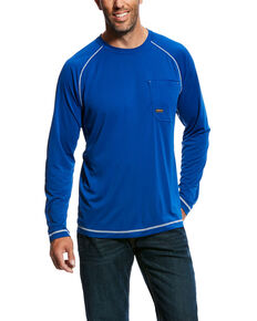Ariat Men's Royal Rebar Sunstopper Long Sleeve Work Shirt - Big & Tall , Royal Blue, hi-res