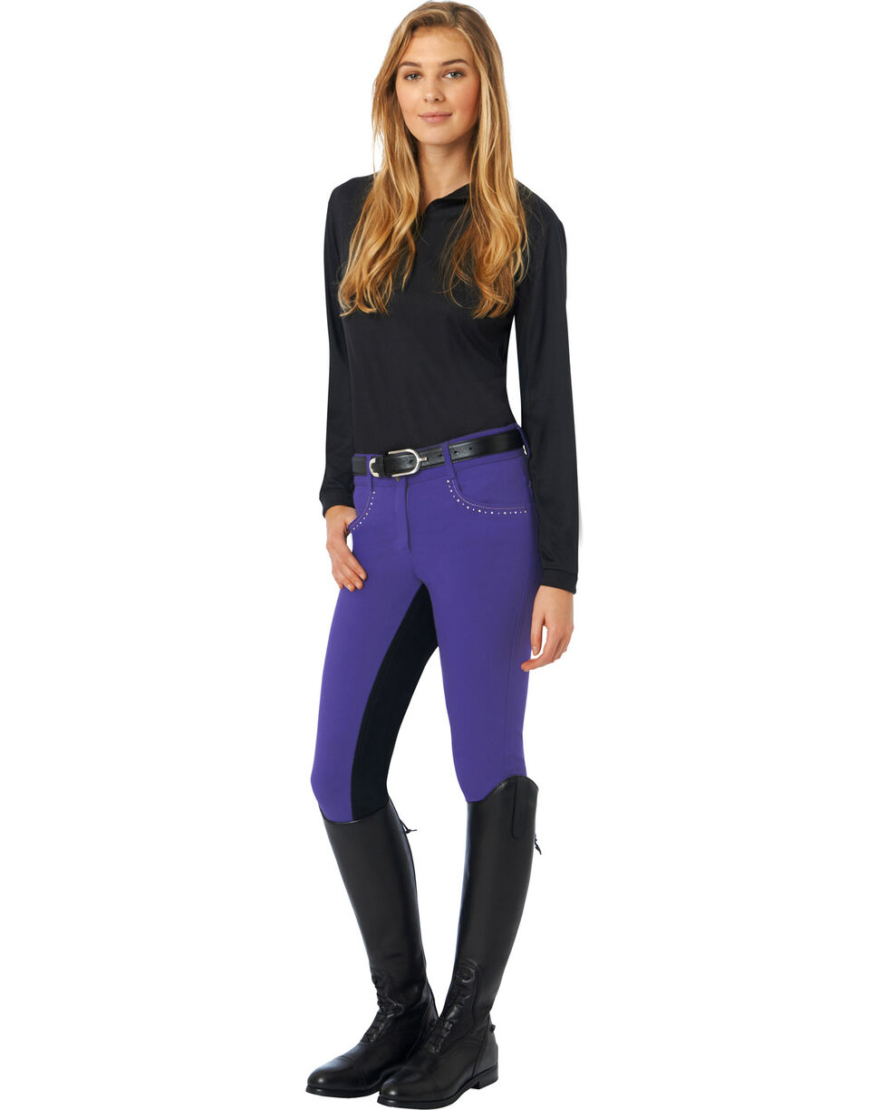 Ovation Women's Sorrento Full Seat Breeches, Amethyst, hi-res