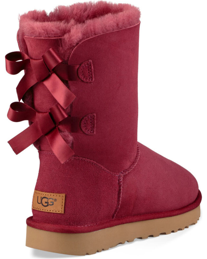 UGG Women's Rose Bailey Bow II Boots - Round Toe , Red, hi-res