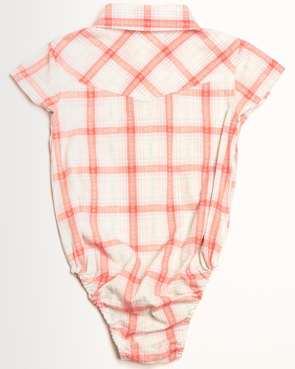 Shyanne Infant Girls' Plaid Woven Short Sleeve Onesie, Ivory, hi-res