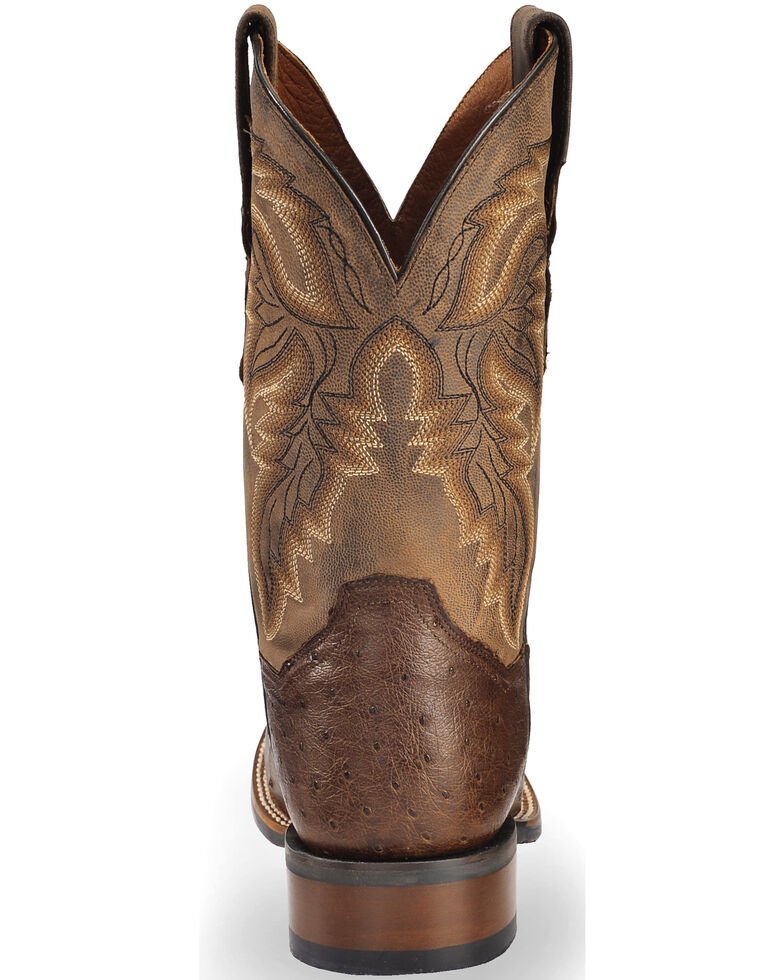 Dan Post Men's Alamosa Full Quill Ostrich Western Boots - Square Toe, Chocolate, hi-res
