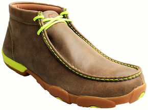 Twisted X Men's Brown and Neon Yellow Leather Driving Mocs, Bomber, hi-res