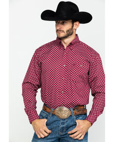 Wrangler Men's Burgundy Classic Geo Print Long Sleeve Western Shirt , Burgundy, hi-res