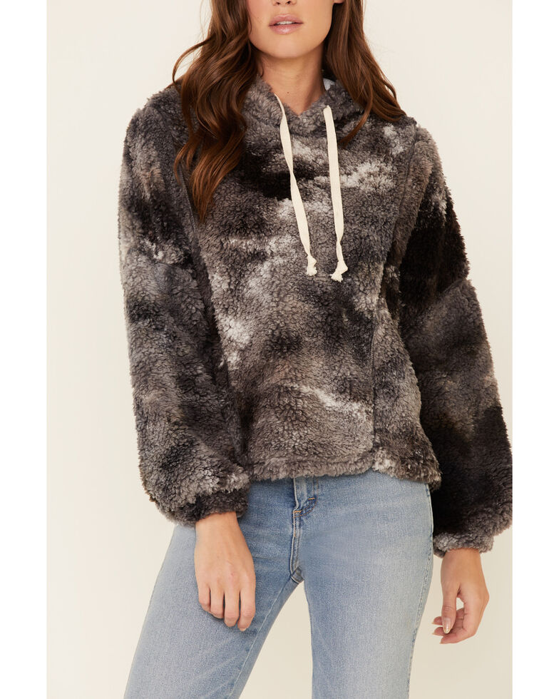 Peach Love Women's Tie-Dye Sherpa Hoodie, Black, hi-res