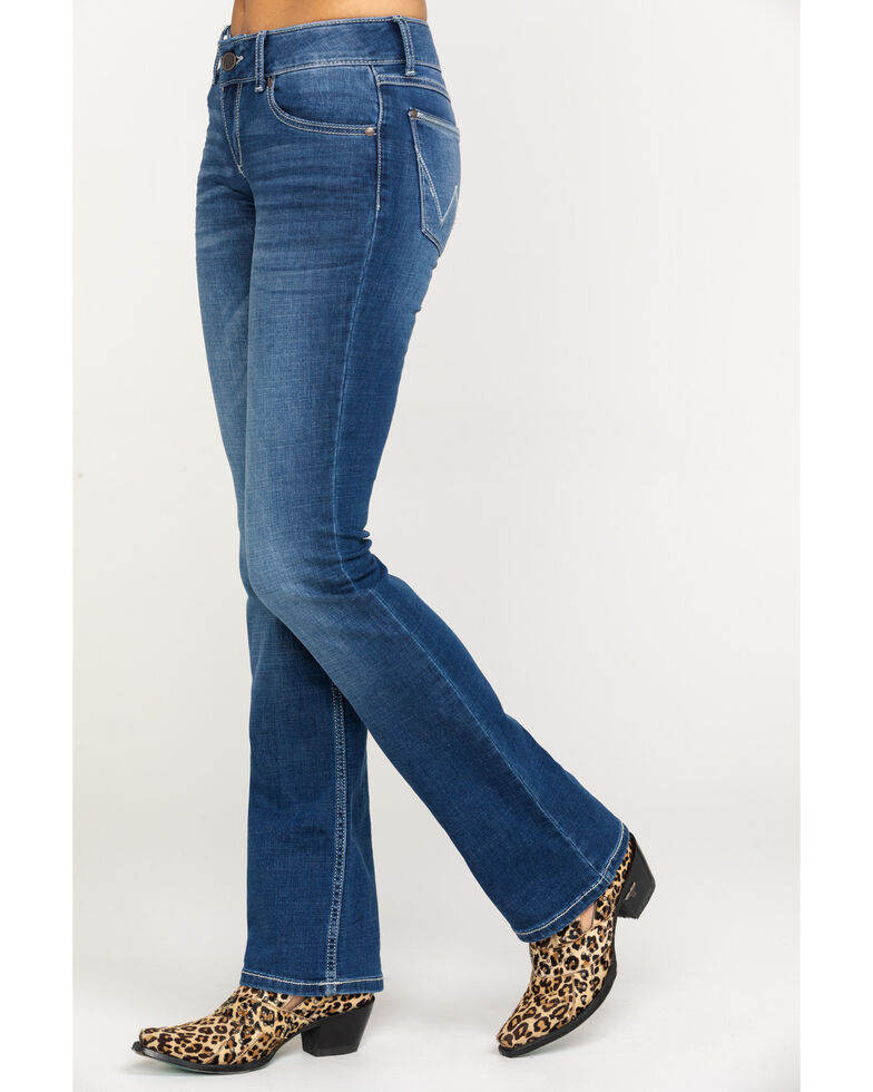 63ec137f Zoomed Image Wrangler Retro Women's Mae Mid Rise Boot Jeans , Dark Blue,  hi-res