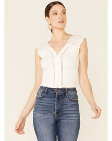 Free People Women's Ivory On My Mind Tank Top  , Ivory, hi-res