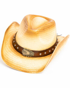 Cody James Men's Elijah Western Straw Hat , Tan, hi-res
