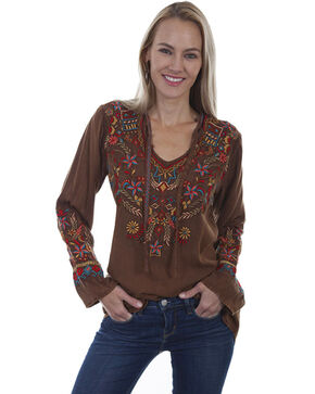 Honey Creek by Scully Women's Brown Embroidered Peasant Long Sleeve Top, Brown, hi-res