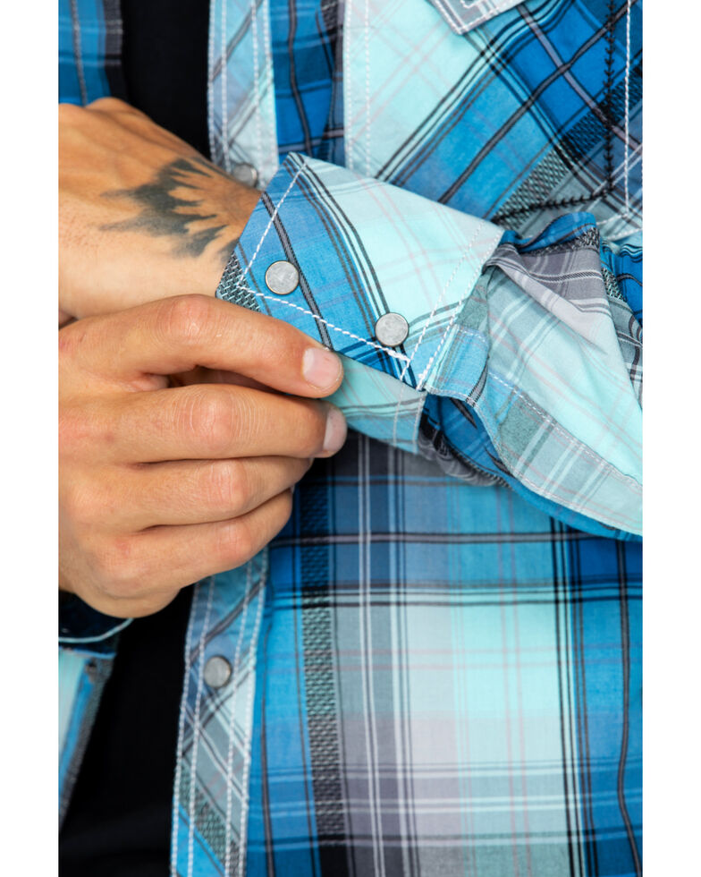 Rock 47 by Wrangler Men's Large Plaid Shirt , Blue, hi-res