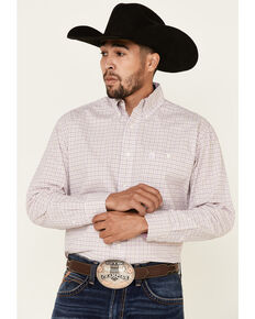 George Strait By Wrangler Men's Pink Small Plaid Long Sleeve Western Shirt - Tall, Pink, hi-res
