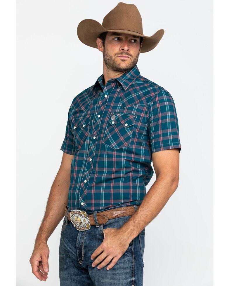Wrangler Retro Men's Teal Med Plaid Short Sleeve Western Shirt , Teal, hi-res