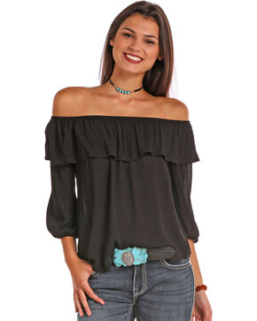 Panhandle Women's Off-The-Shoulder Peasant Top, Black, hi-res
