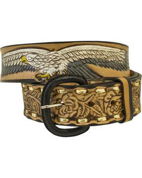 Western Express Men's Brown Eagle and USA Tooled Belt , Brown, hi-res