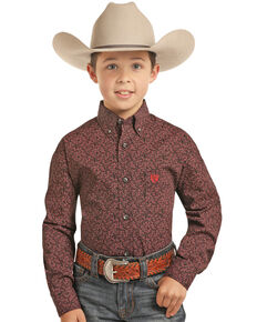 Panhandle Select Boys' Floral Brushed Poplin Print Long Sleeve Western Shirt , Red, hi-res
