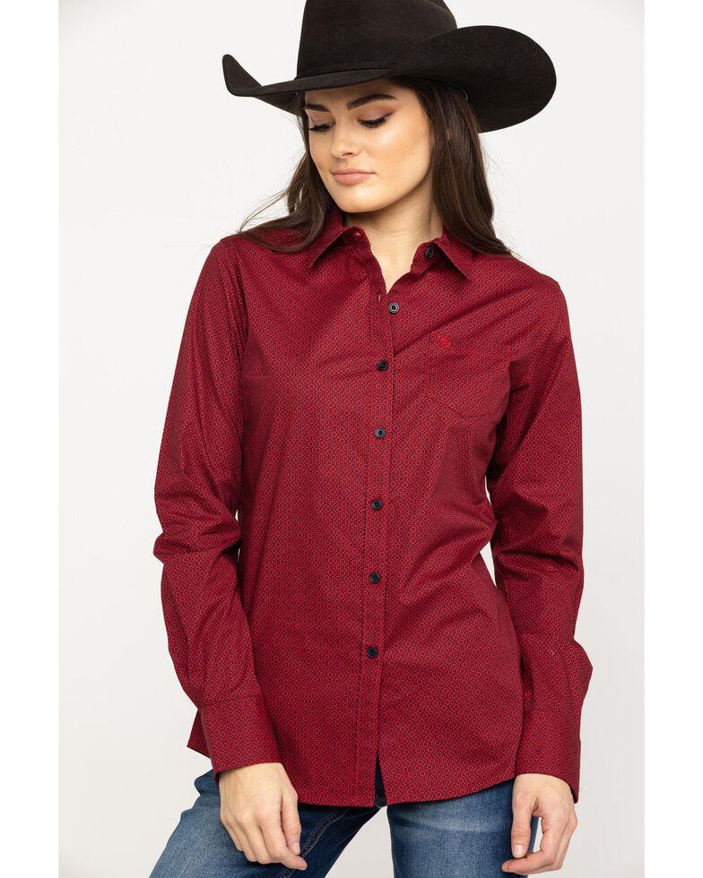 Ariat Women's Kirby Geo Print Scarlet Stretch Shirt, Red, hi-res
