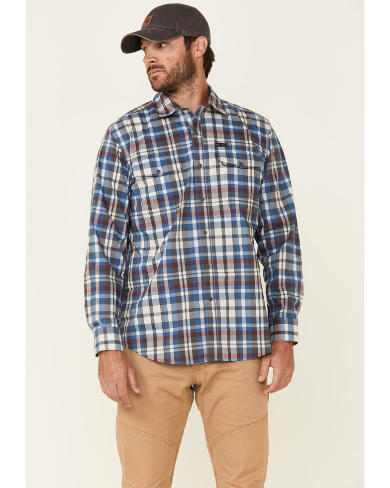 Wrangler All Terrain Men's Grey Plaid Pocket Utility Long Sleeve Western Flannel Shirt , Grey, hi-res