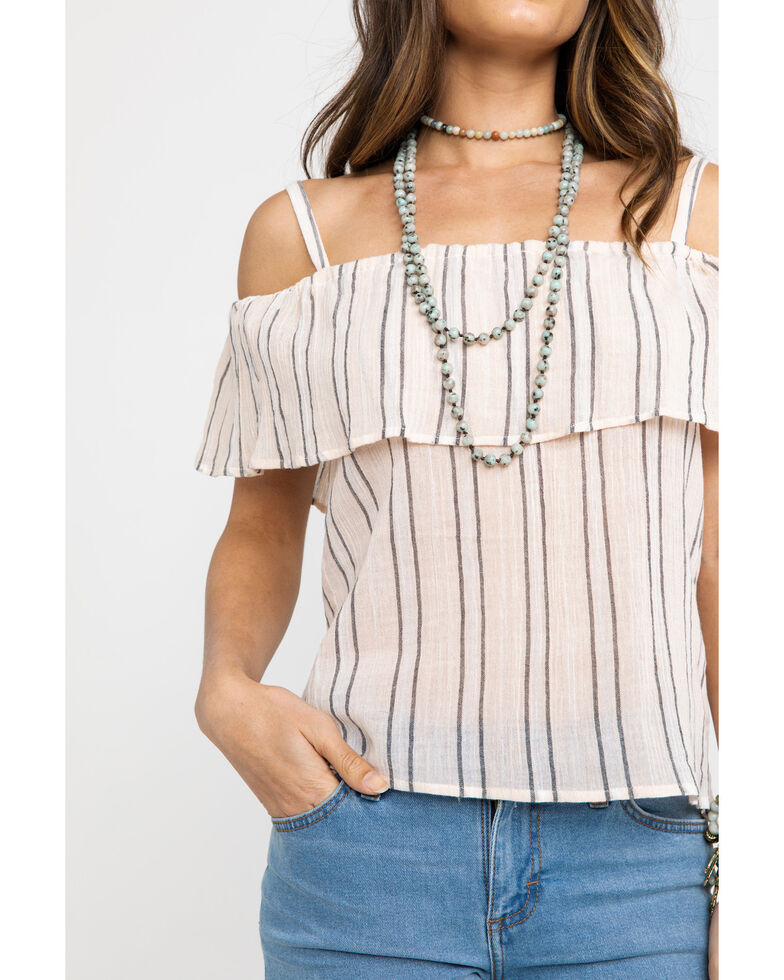 Shyanne Women's Striped Cold Shoulder Top , Peach, hi-res
