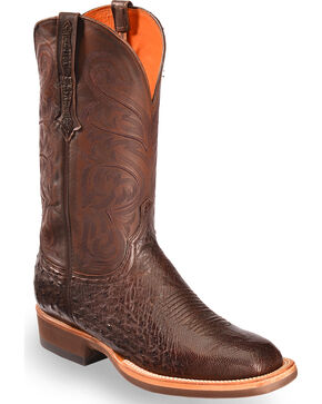 Lucchese Men's Handmade Dark Brown Lance Smooth Ostrich Boots - Square Toe , Dark Brown, hi-res