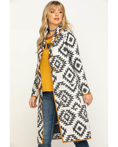 Shyanne Women's Aztec Long Blanket Coat , Tan, hi-res