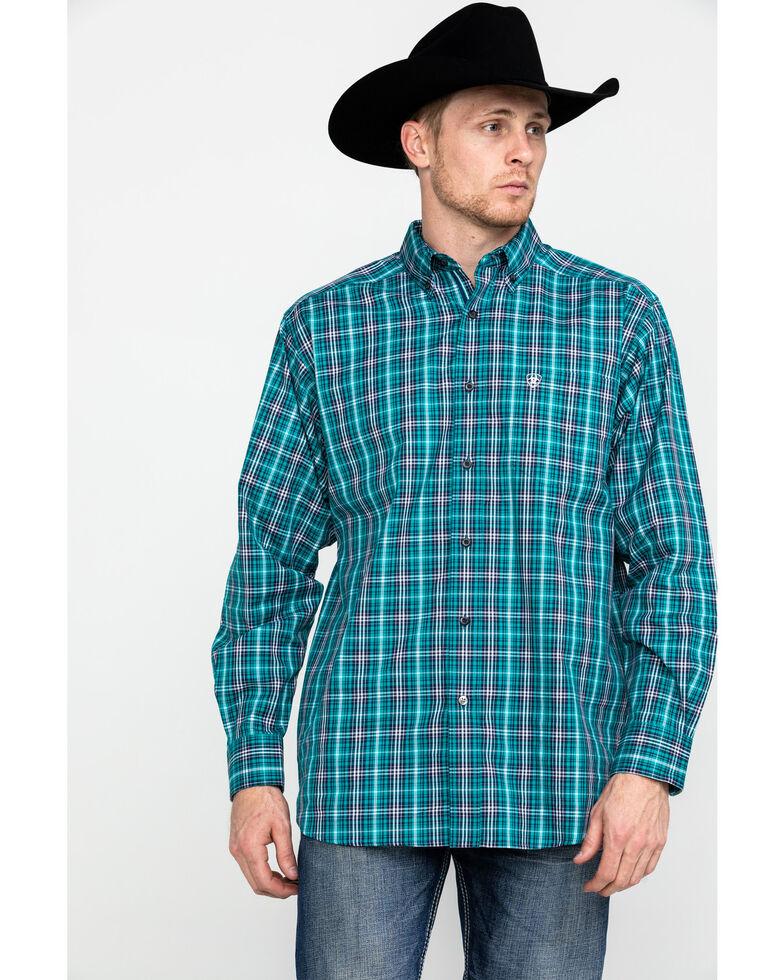 Ariat Men's Rooks Med Plaid Long Sleeve Western Shirt , Turquoise, hi-res