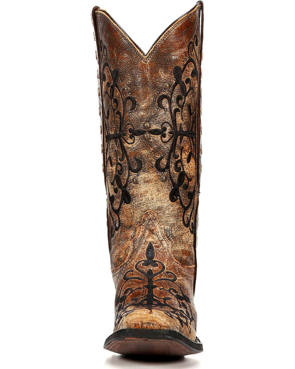 Corral Women's Studded Strap Cowgirl Boots - Square Toe, Bronze, hi-res
