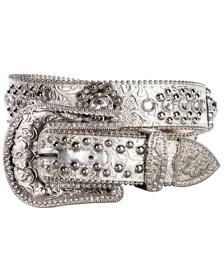 Blazin Roxx Floral Concho & Crystal Metallic Silver Leather Belt, Silver, hi-res