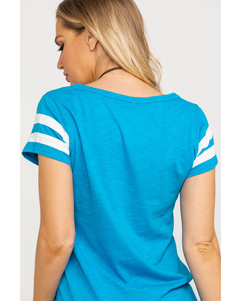 Shyanne Women's Teal Legend American Eagle Football Tee, Teal, hi-res