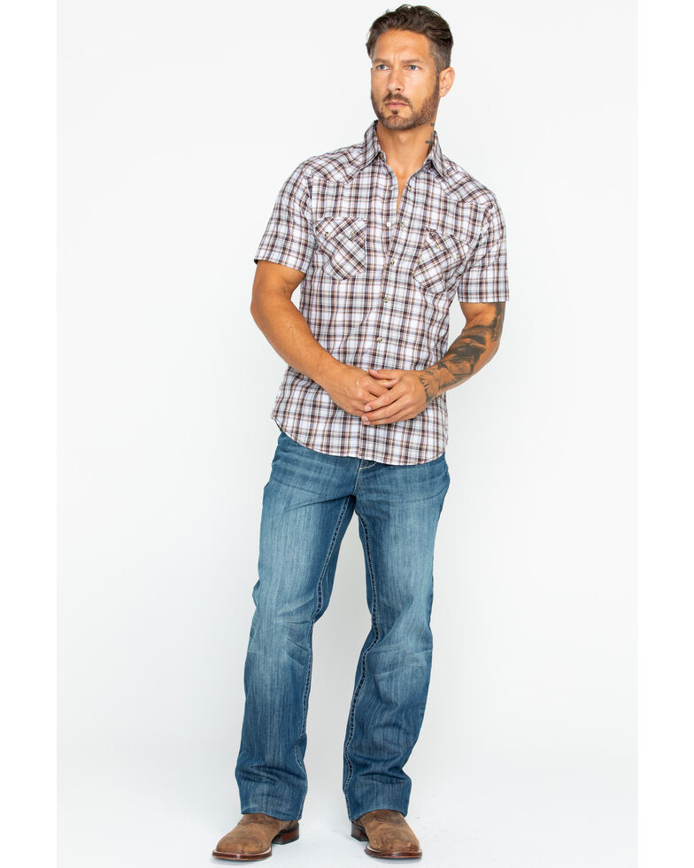 a92c1e32 Zoomed Image Wrangler Retro Men's Plaid Short Sleeve Western Shirt , Tan,  hi-res
