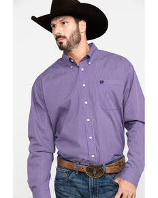 Cinch Men's Purple Geo Print Button Long Sleeve Western Shirt , Purple, hi-res