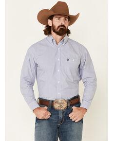 George Strait By Wrangler Men's Navy Mini Stripe Long Sleeve Button-Down Western Shirt , Navy, hi-res