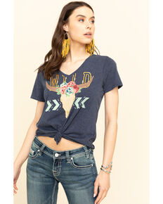 Ariat Women's Navy Wild Steer tee, Navy, hi-res