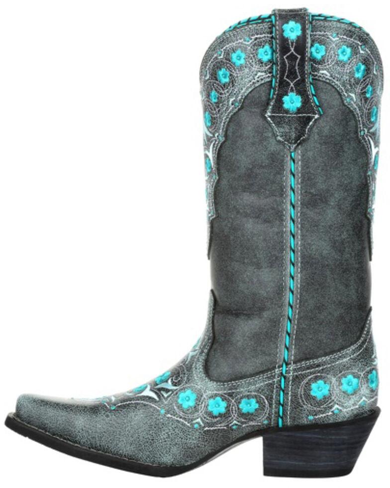Durango Women's Crush Blue Floral Western Boots - Snip Toe, Grey, hi-res