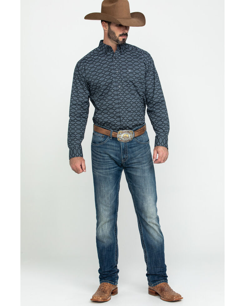 Ariat Men's Flossmoor Stretch Aztec Geo Print Long Sleeve Western Shirt , Brown, hi-res
