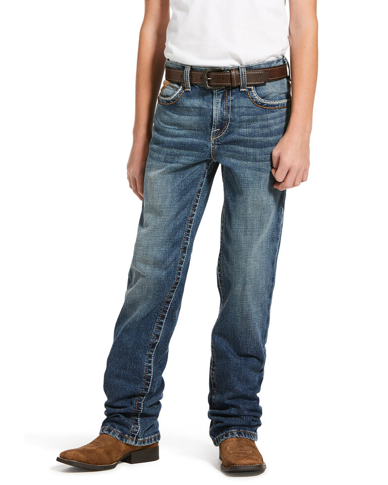 Ariat Boys' M5 Wave Stretch Slim Straight Jeans , Blue, hi-res