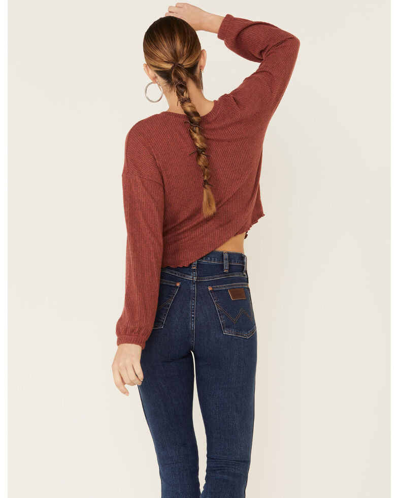 Moa Moa Women's Henley Brushed Hacci Ribbed Long Sleeve Top, Rust Copper, hi-res