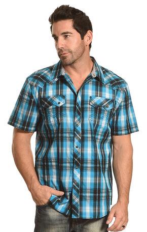 Moonshine Spirit Men's Plaid Short Sleeve Shirt, Turquoise, hi-res
