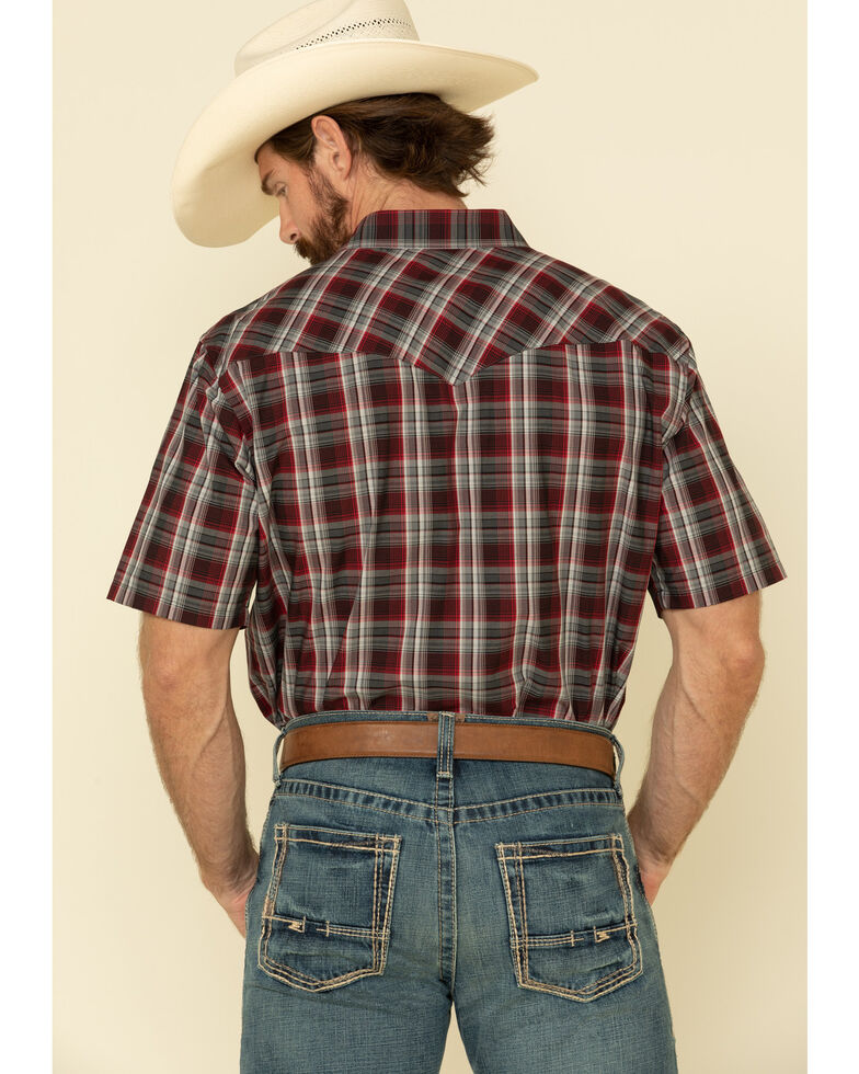 Pendleton Men's Red Frontier Small Plaid Short Sleeve Western Shirt , Red, hi-res