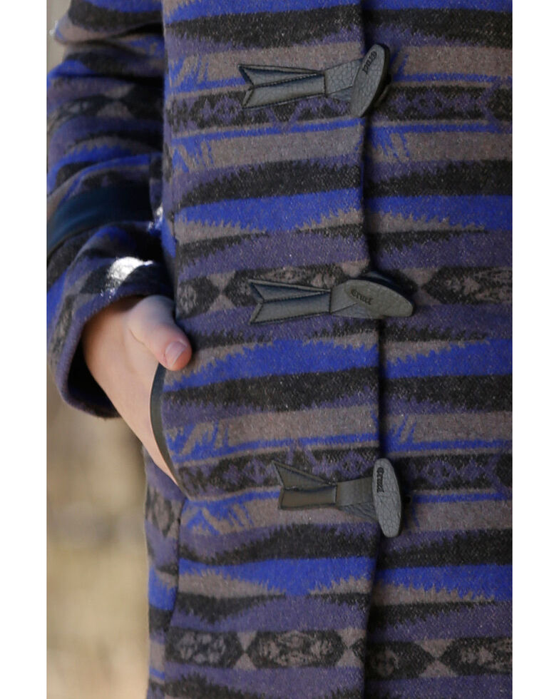 Cruel Girl Girls' Aztec Patterned Tweed Coat , Blue, hi-res
