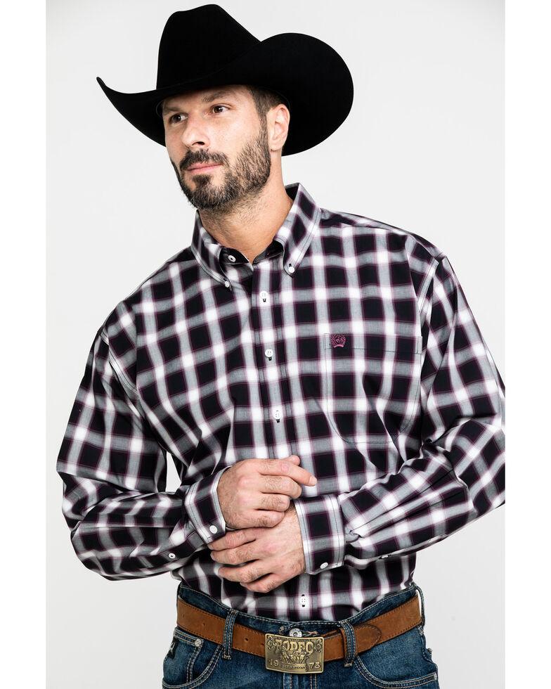 Cinch Men's Multi Large Check Plaid Long Sleeve Western Shirt , Purple, hi-res