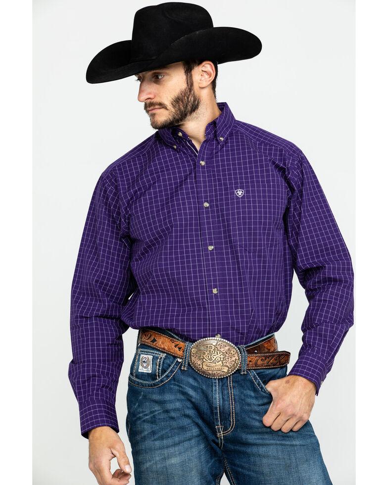 Ariat Men's Purple Plaid Tailgate Long Sleeve Western Shirt , Purple, hi-res