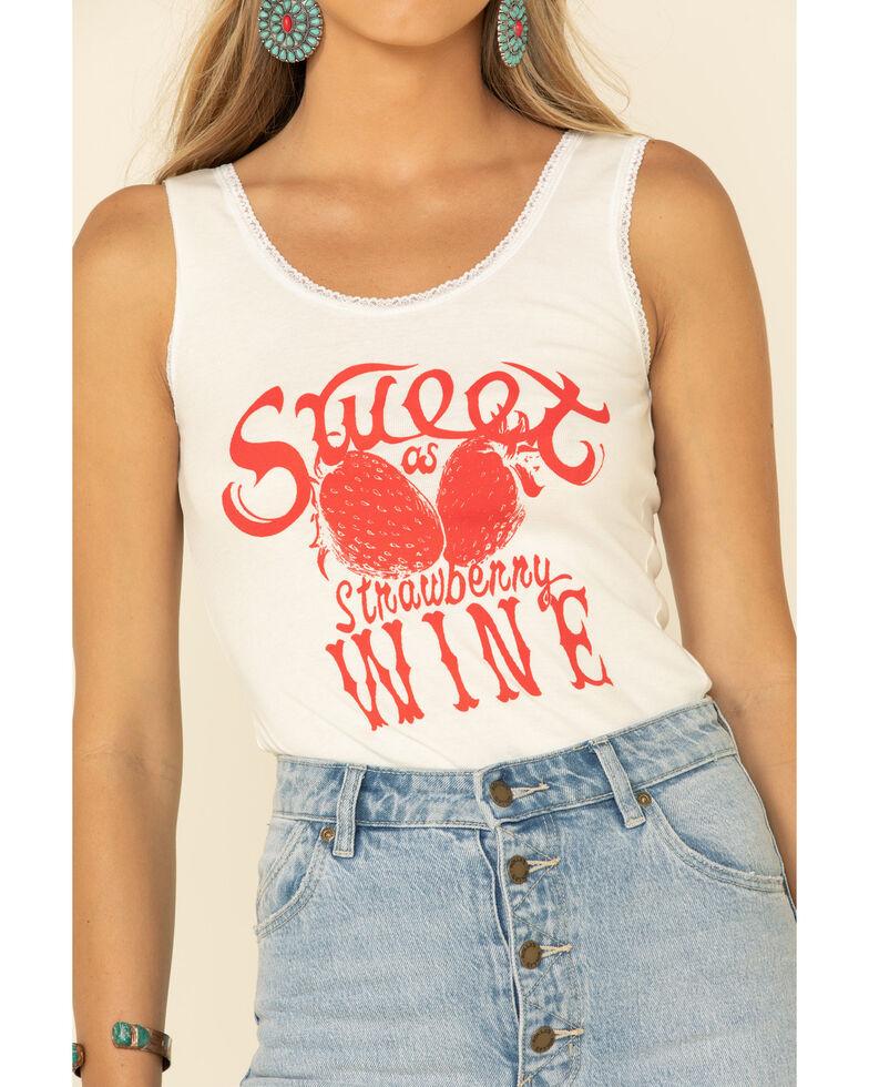 Bandit Women's Sweet As Strawberry Wine Lace Trim Tank Top, Ivory, hi-res