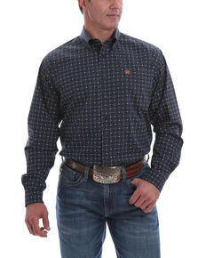 Cinch Men's Navy Large Geo Print Long Sleeve Western Shirt , Navy, hi-res
